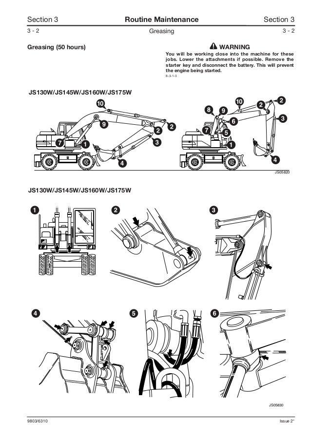 JCB JS130W WHEELED EXCAVATOR Service Repair Manual SN