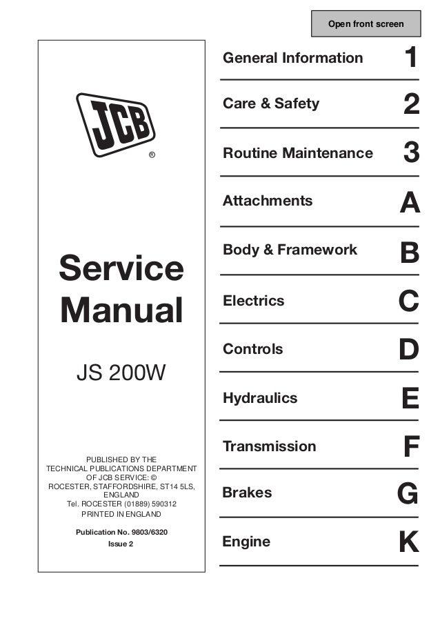 jcb js200w wheeled excavator service repair manual download