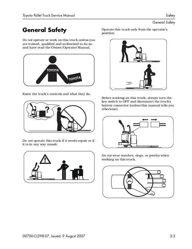 Toyota 8TB50 Pallet Truck Service Repair Manual