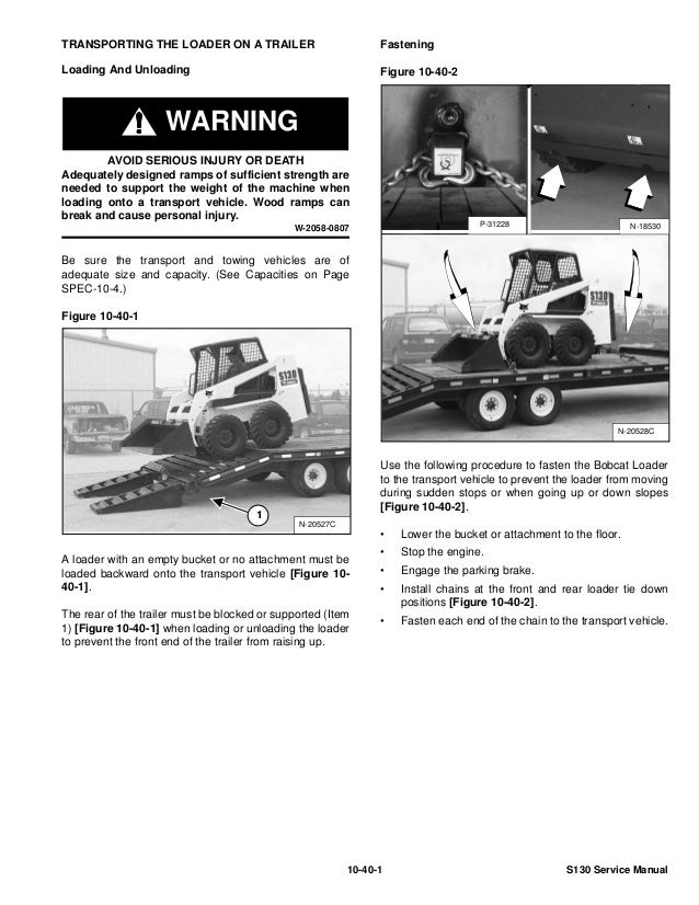 BOBCAT S130 SKID STEER LOADER Service Repair Manual SN