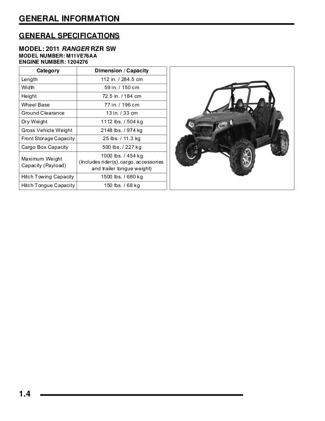 2011 Polaris Ranger RZR SW Service Repair Manual