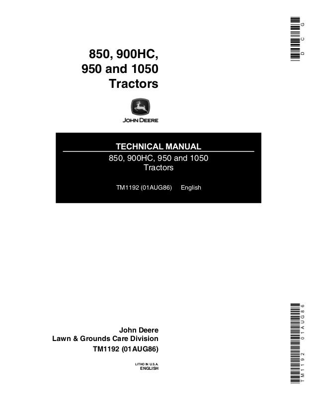 Operators manual for john deere 850 950 1050 tractor owners book.