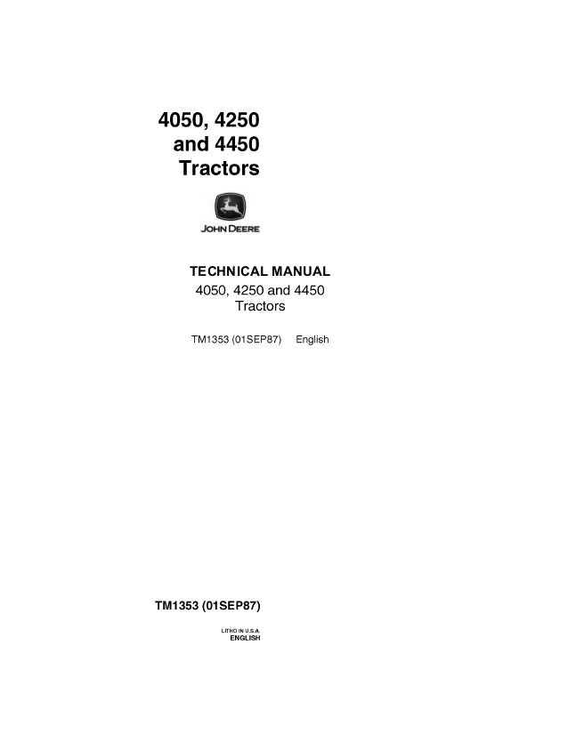 JOHN DEERE 4450 TRACTOR Service Repair Manual
