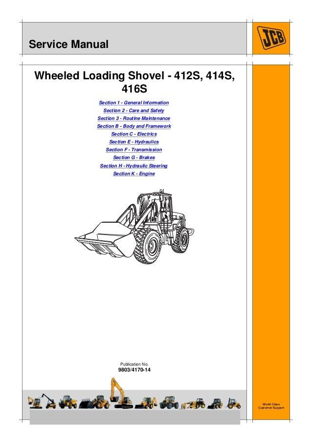 JCB 412S WHEELED LOADER Service Repair ManualSN 535500
