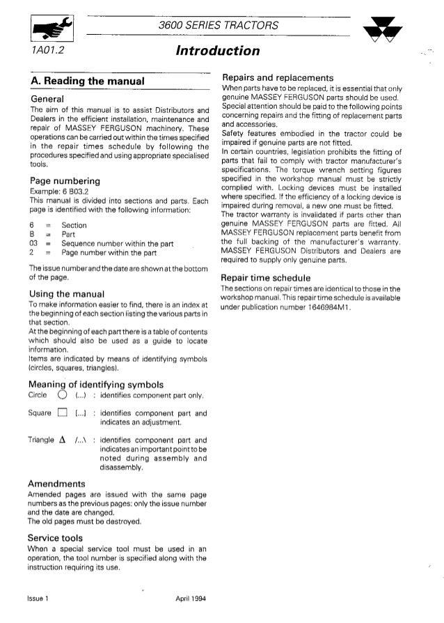 Massey Ferguson MF 3660 Tractor Service Repair Manual