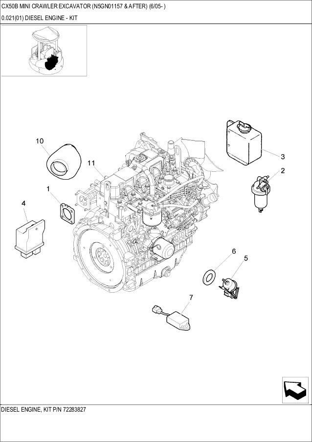 CASE CX50B Mini Crawler Excavator Parts Catalogue Manual
