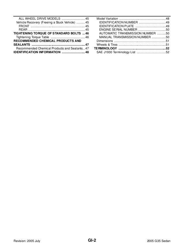 2005 INFINITI G35 SEDAN Service Repair Manual