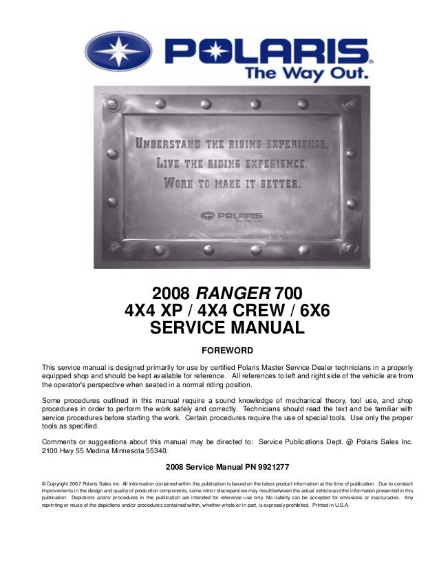 2008 Polaris Ranger 6x6 700 Efi Service Repair Manualrhslideshare: Polaris Ranger 700 Fuse Box Location At Gmaili.net