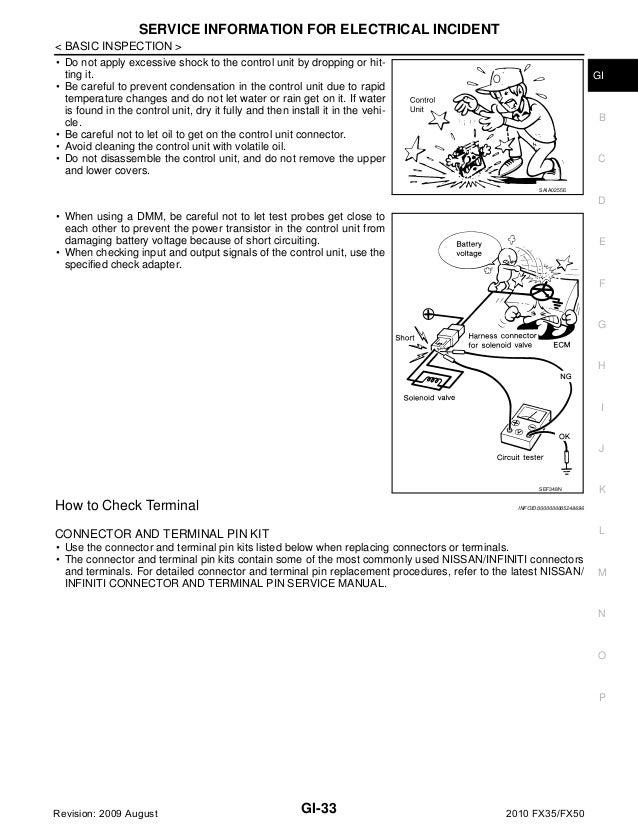 infiniti fx35 fx50 workshop manual 2010 2011
