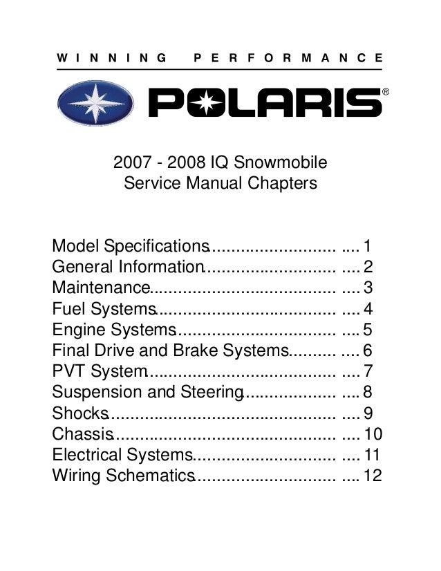 2007 polaris 700 ho iq dragon snowmobile service repair manual rh slideshare net 2009 polaris 600 iq service manual 2009 polaris 600 iq service manual