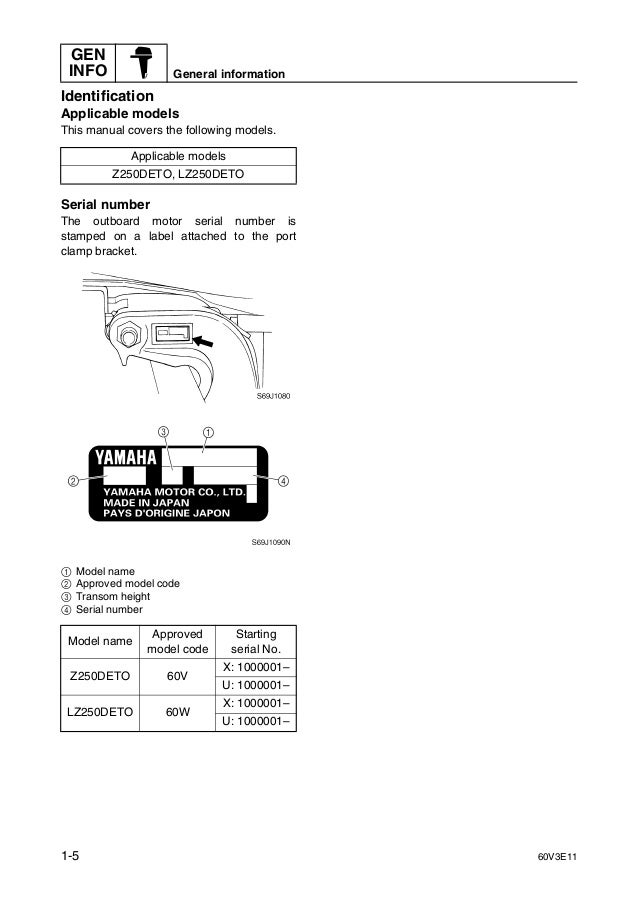 Yamaha z250deto outboard service repair manual x 1000001 for Yamaha outboard serial number checker