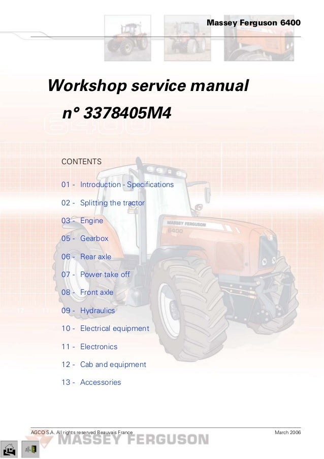 Mey Ferguson MF 6485 Tractor Service Repair Manual on