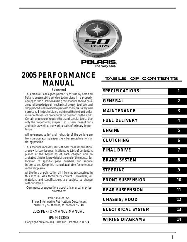 2005 Polaris 500 Xc Sp Edge Snowmobile Service Repair Manual