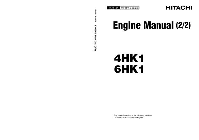 HITACHI 4HK1 ENGINE Service Repair Manual