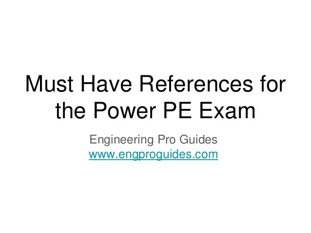 Must Have References For The Electrical Power PE Exam