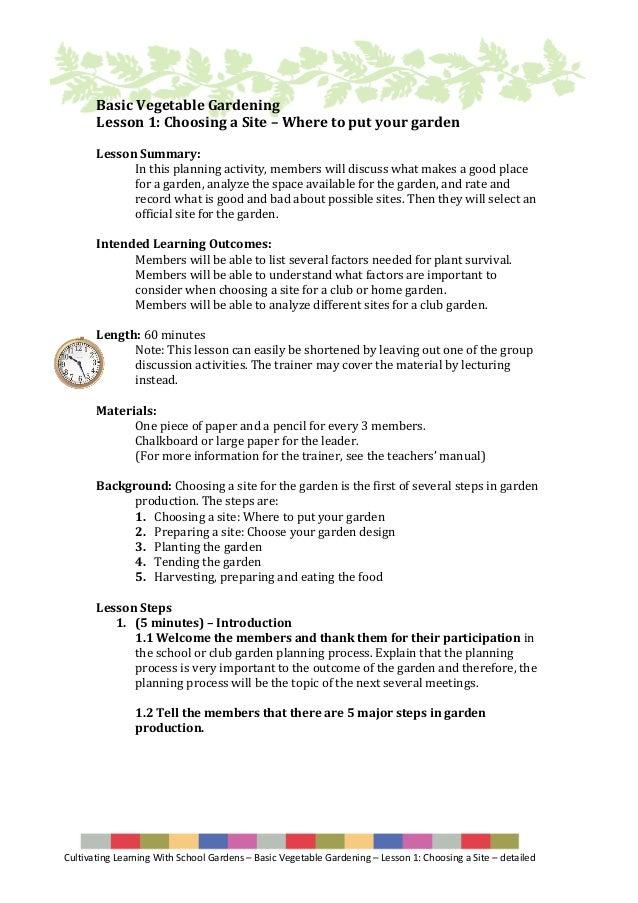 Cultivating Learning With School Gardens U2013 Basic Vegetable Gardening U2013  Lesson 1: Choosing A Site ...