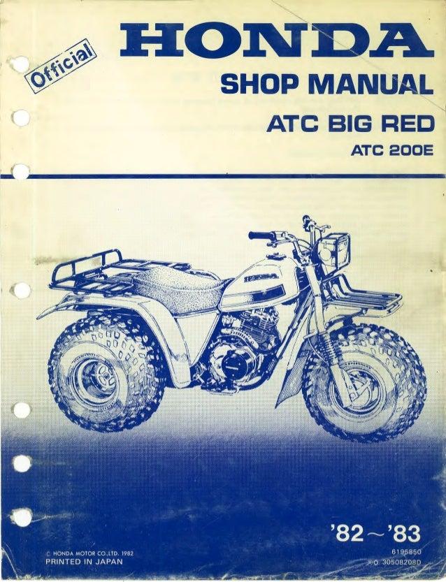 1983 Honda Atc200e Big Red 3 Wheel Service Repair Manual
