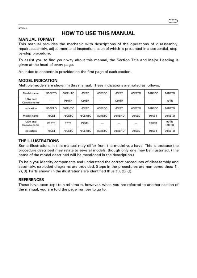YAMAHA 90AETO, 90TR, B90TR OUTBOARD Service Repair Manual L