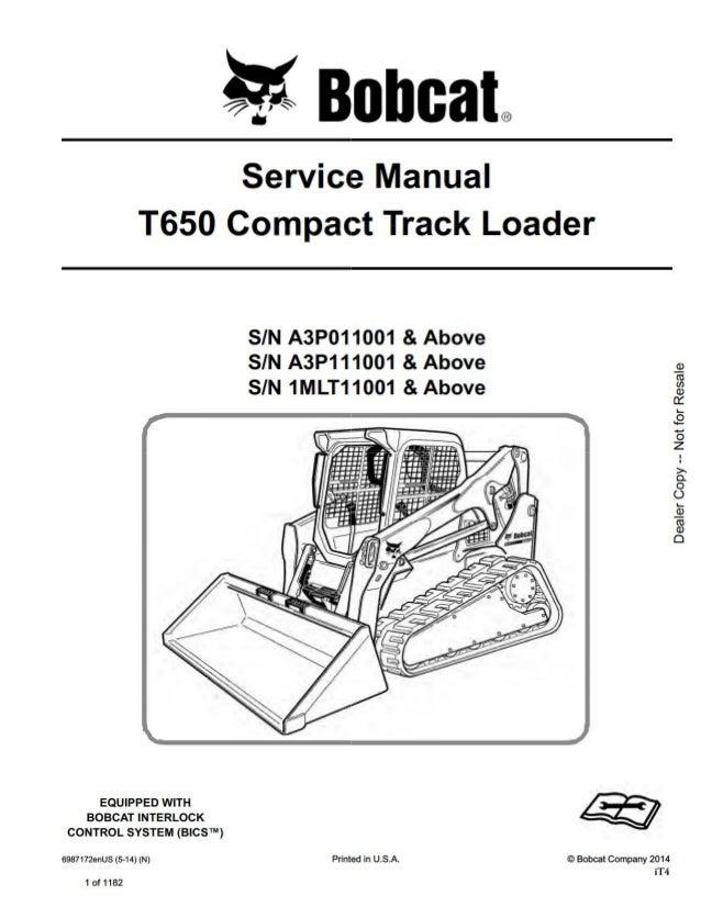 BOBCAT T650 COMPACT TRACK LOADER Service Repair Manual SN