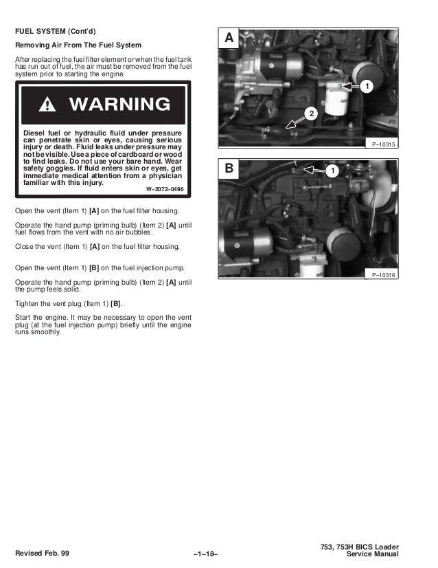 BOBCAT 753 SKID STEER LOADER Service Repair Manual SN
