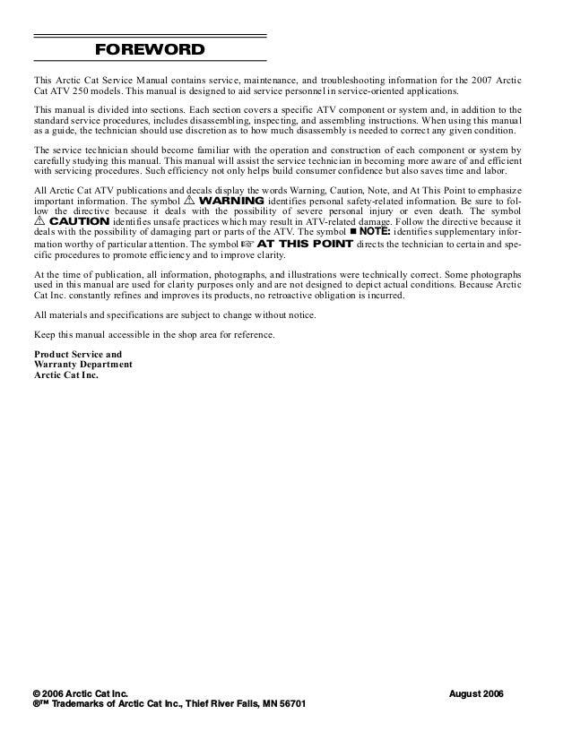2007 Arctic Cat 250 Dvx Utility Atv Service Repair Manual