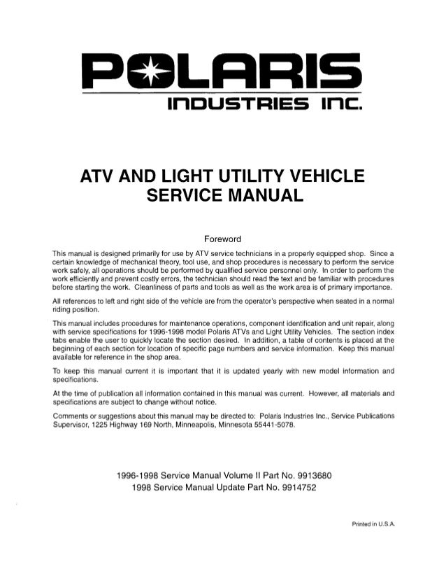 1998 Polaris Scrambler 400 4x4 Service Repair Manual