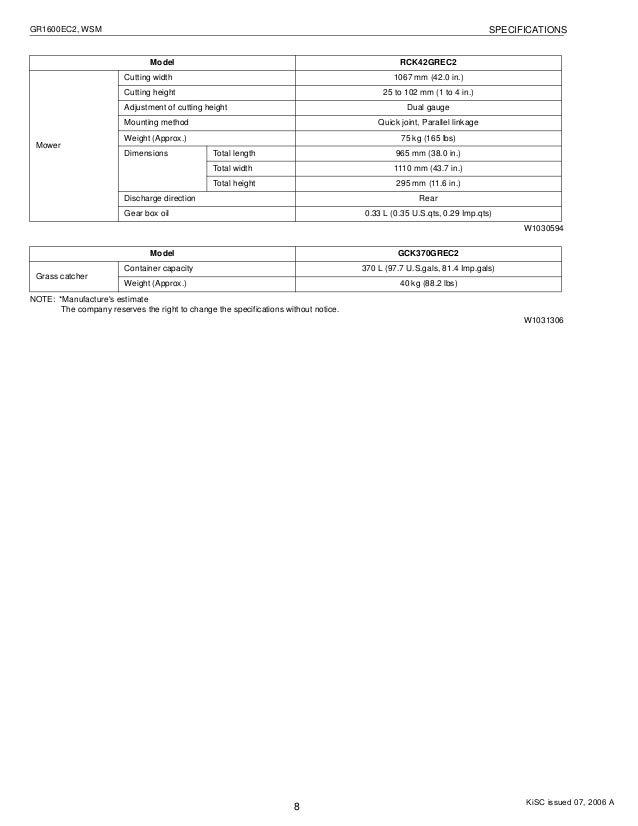 KUBOTA GR1600EC2 RIDE ON MOWER Service Repair Manual