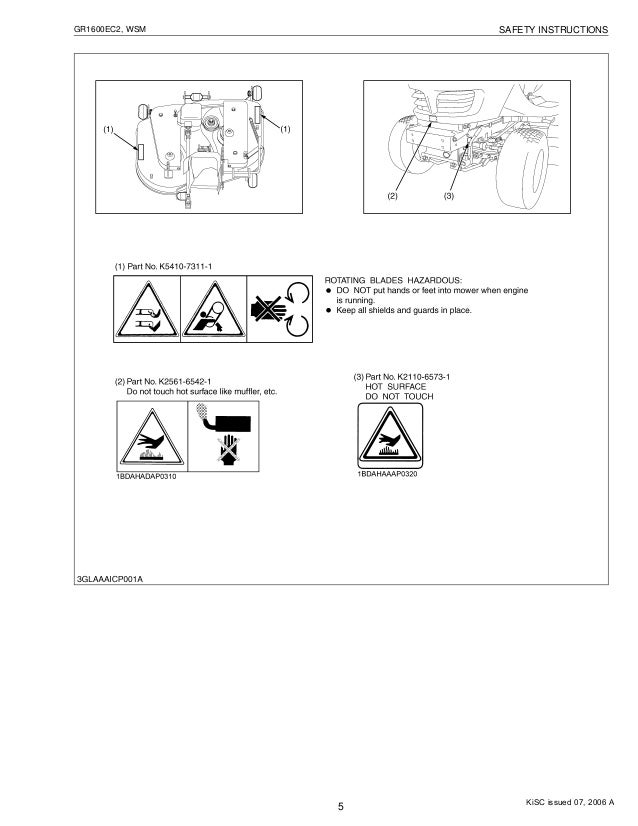 kubota gr1600ec2 ride on mower service repair manual  5 gr1600ec2 wsm safety instructions kisc issued 07 2006 a