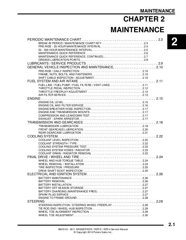 2011 Polaris RANGER RZR S Service Repair Manual
