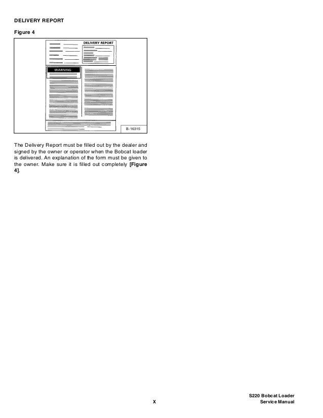 BOBCAT S220 SKID STEER LOADER Service Repair Manual S/N