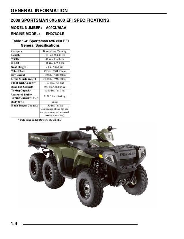 2009 POLARIS SPORTSMAN 800 EFI 6X6 Service Repair Manual