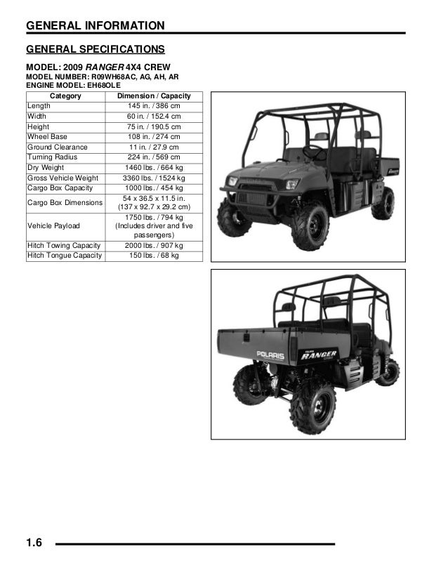 2009 Polaris Ranger 4X4 700 EFI Crew Service Repair Manual