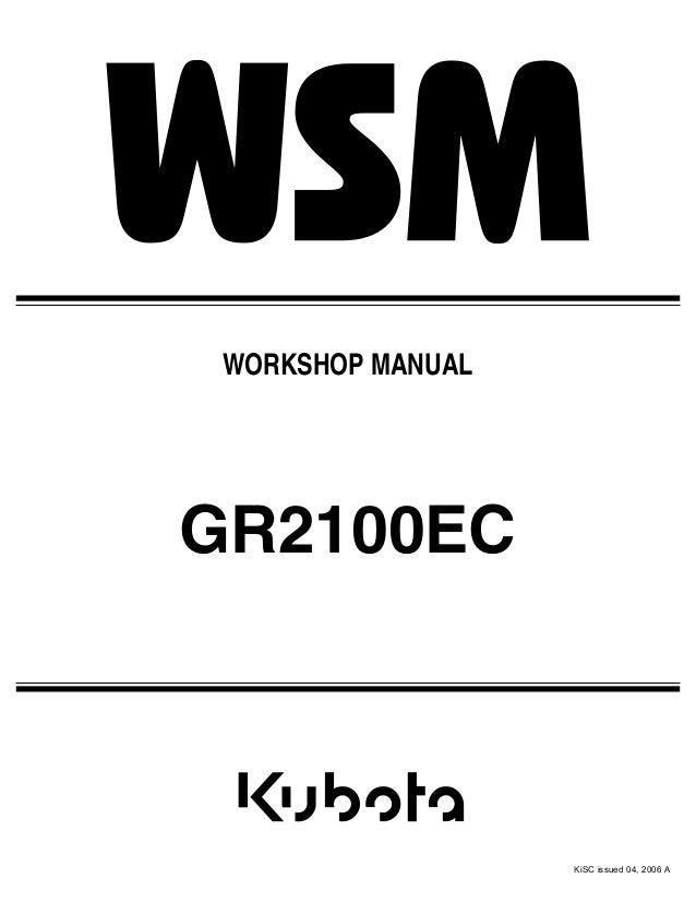 Kubota Gr2100ec Lawnmower Service Repair Manual