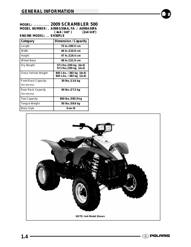 2009 Polaris Scrambler 500 4X4 Service Repair Manual