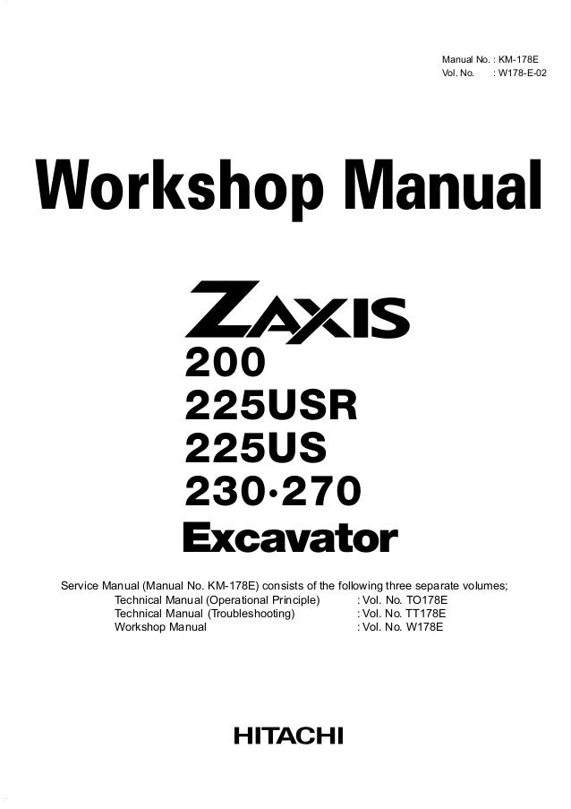 hitachi zaxis 210 excavator service repair manual rh slideshare net Hitachi Excavators Service Manual Hitachi Manuals Television