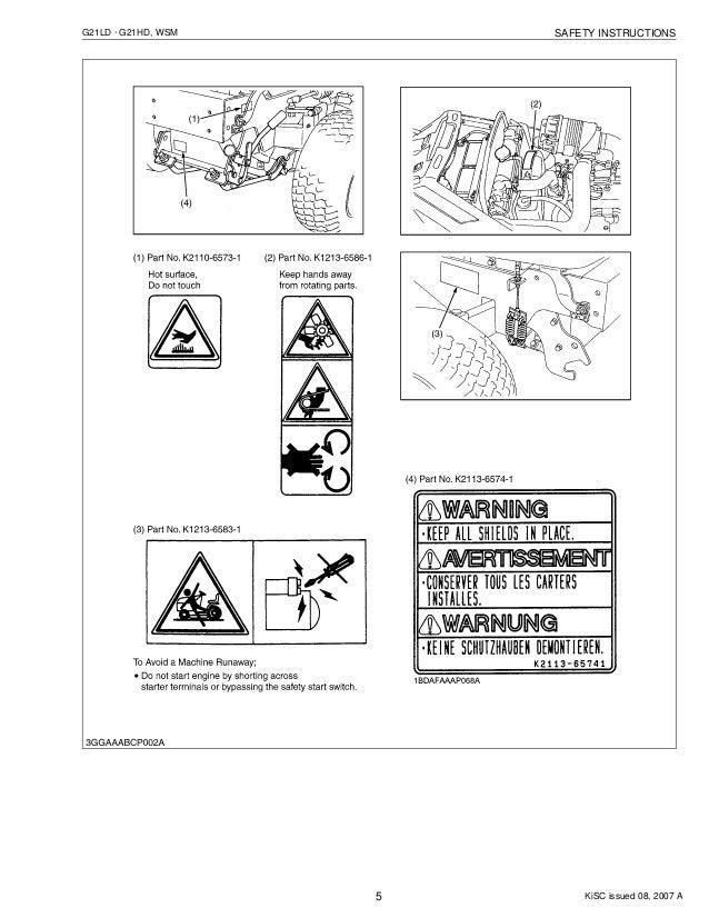 KUBOTA G21LD TRACTOR MOWER Service Repair Manual