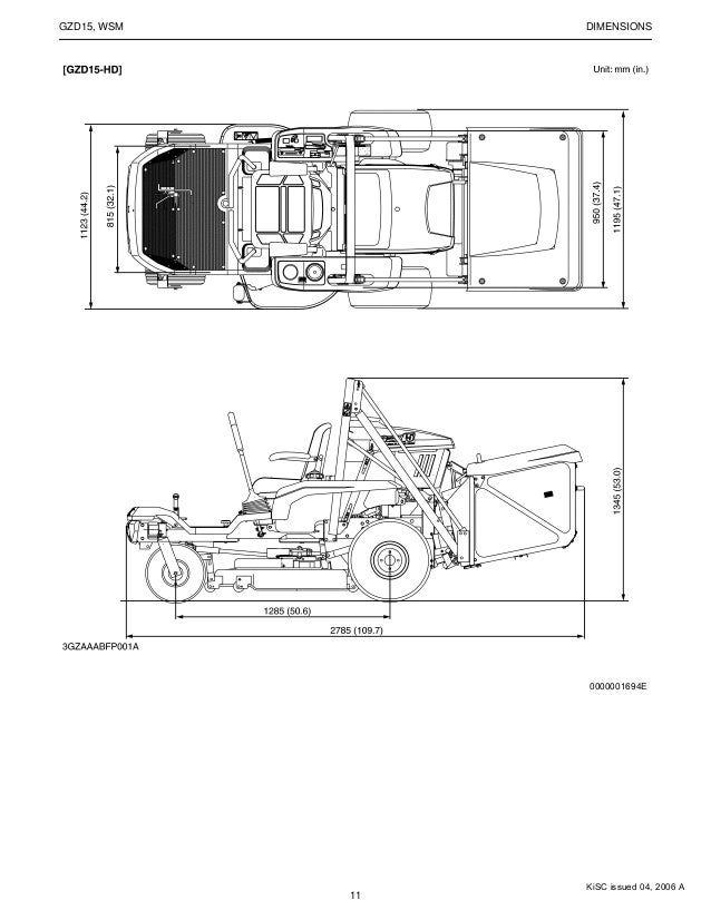 Kubota GZD15-LD Zero Turn Mower Service Repair Manual