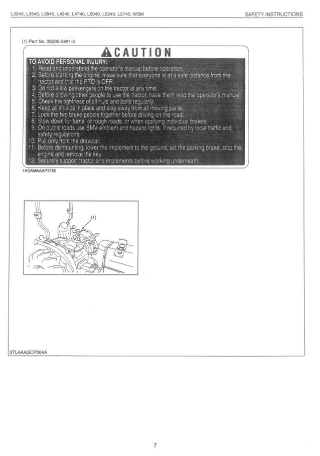 Kubota L5040 Tractor Service Repair Manual