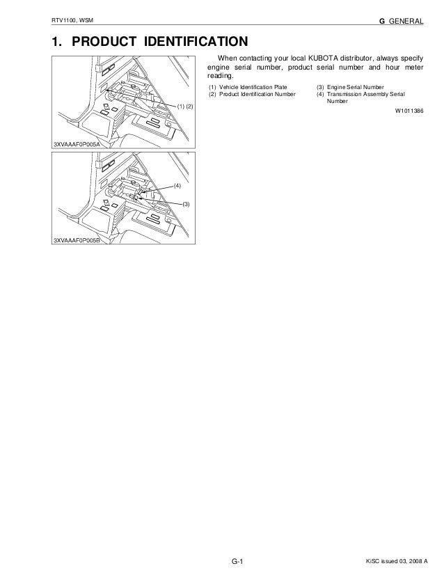 KUBOTA RTV1100 UTILITY VEHICLE UTV Service Repair Manual