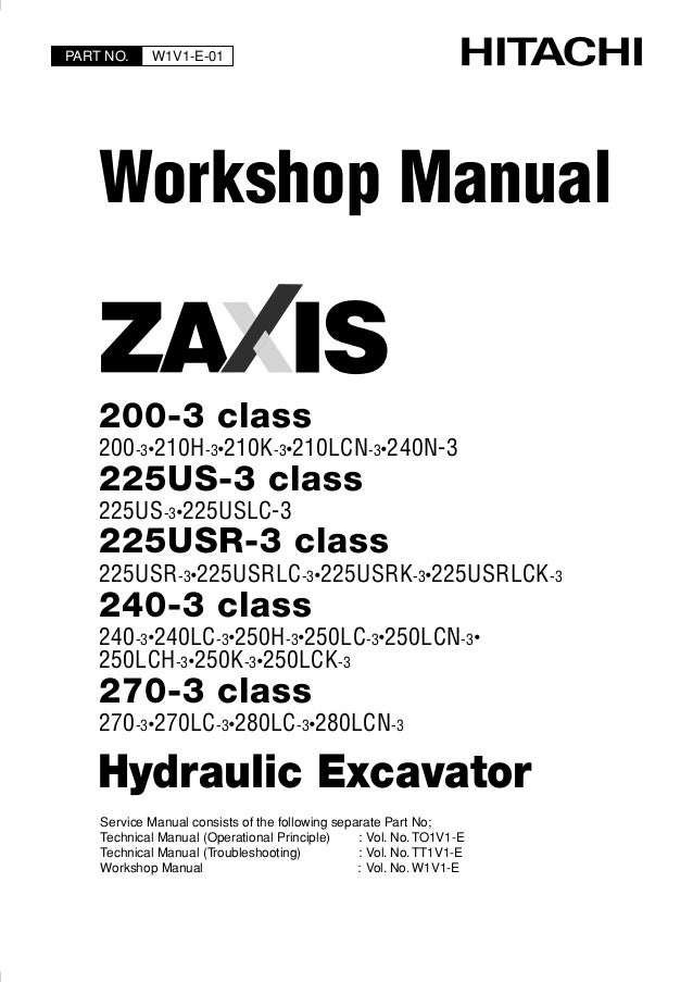 hitachi zaxis 225us 3 class excavator service repair manual rh slideshare net Hitachi EX200 Excavator Hitachi Excavator Parts Online