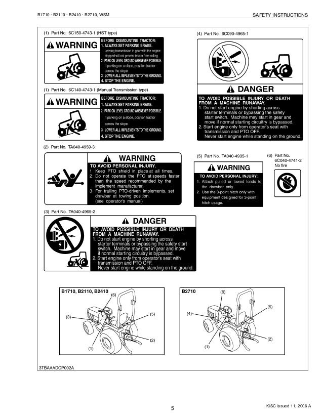 KUBOTA B2110DB TRACTOR Service Repair Manual