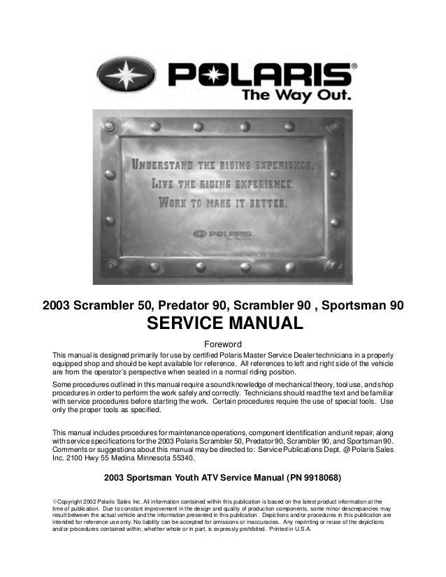 2003 Polaris Sportsman 90 Service Repair Manual