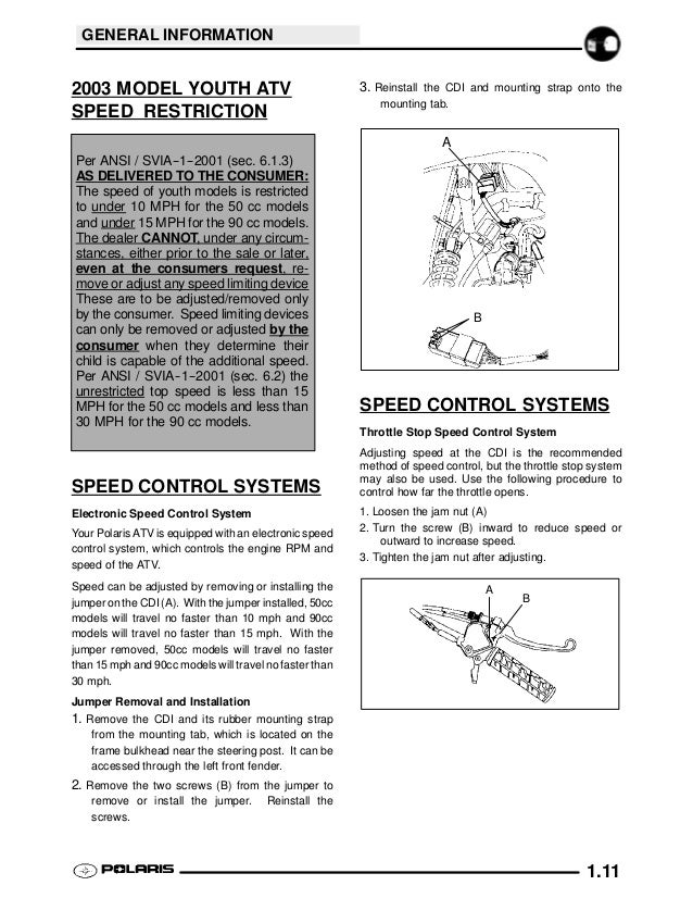 2003 Polaris Sportsman 90 Service Repair Manual