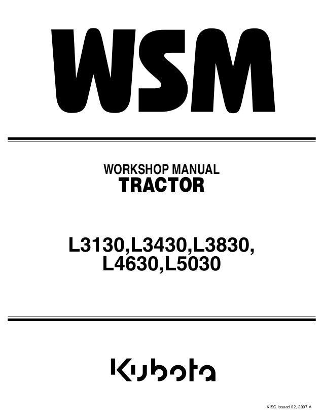 Service Manual Kubota l3430 Online Craftsman