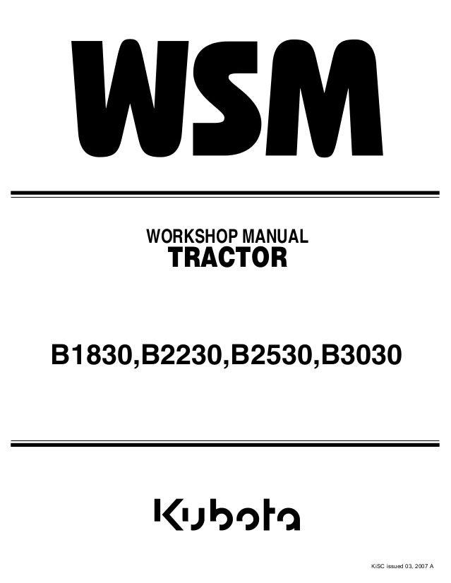 kubota b2530 tractor service repair manual rh slideshare net Kubota B3030 Problems Kubota B3030 Problems