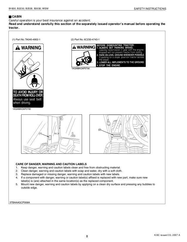 Kubota B3030 owners manual