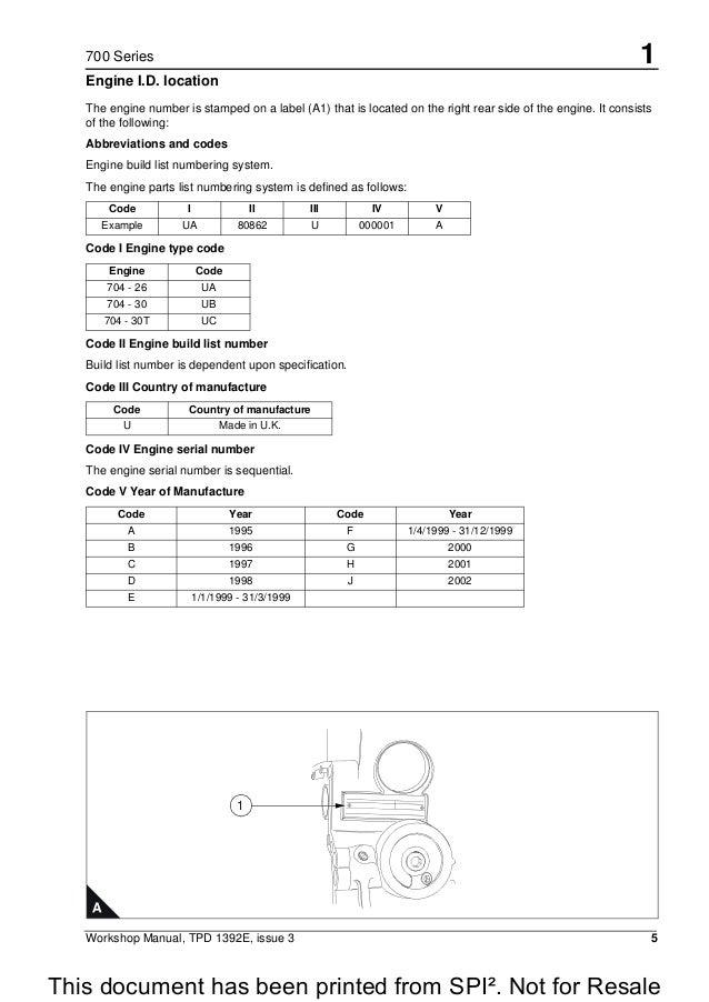 PERKINS 700 SERIES UB FOUR CYLINDER DIESEL ENGINE Service Repair Manu…