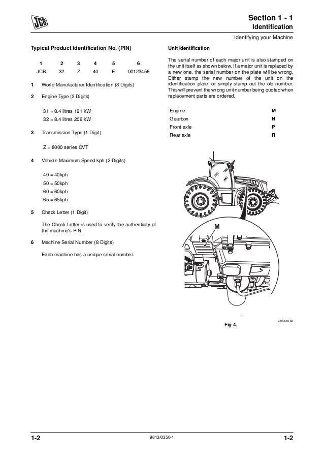 JCB 8280 FASTRAC Service Repair Manual SN: 01139400-01139999
