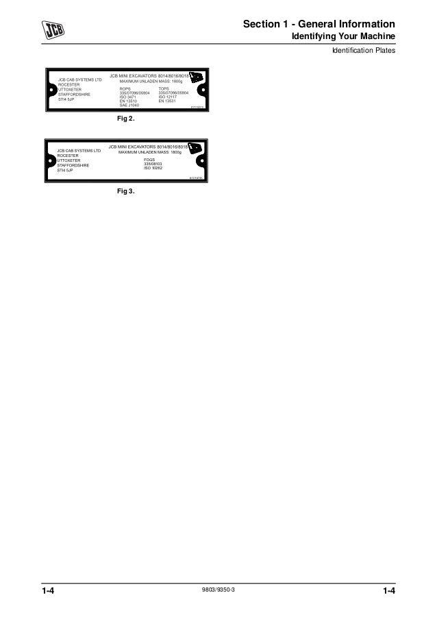 JCB 8014 MINI EXCAVATOR Service Repair Manual SN: 1282000