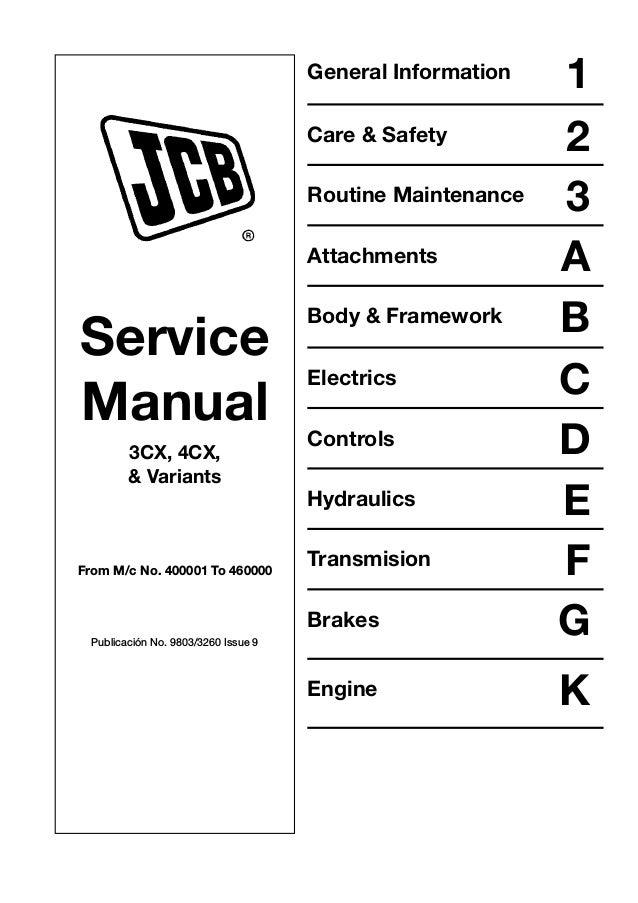 Jcb 4cx Backhoe Loader Service Repair Manual Sn 400001 To 4600000